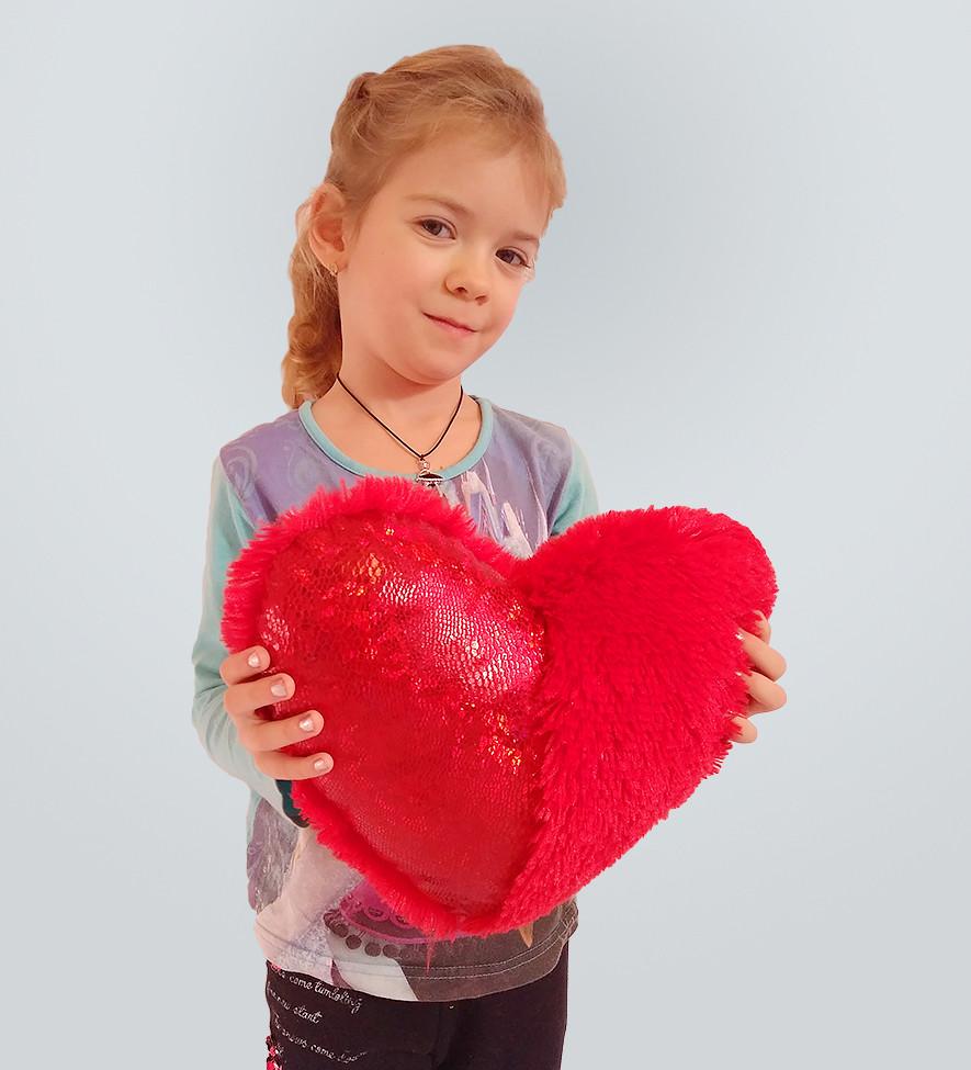 """Подушка-сердце со вставкой """"голограмма"""" 30 см"""