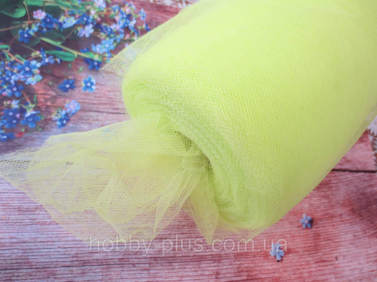 Фатин-сетка, ширина 15 см, цвет ЛИМОННЫЙ