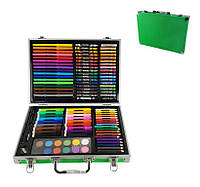 Набор для творчества MK 2454(Green) Зелёный каранд,акв.краски,фломастеры,мелки,в чемодан,34,5-25-6см