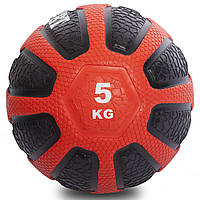 Мяч медицинский медбол Zelart Medicine Ball FI-0898-5 5кг (резина, d-23см,черный-красный), фото 1