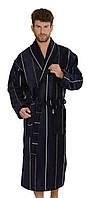 Мужской махровый велюровый халат Gursan синий