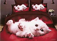 3D Постельное белье Milano Zone  рисунок белый котенок полуторка