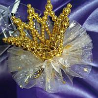 Заколка Золотая жемчужная корона на новогодний утренник