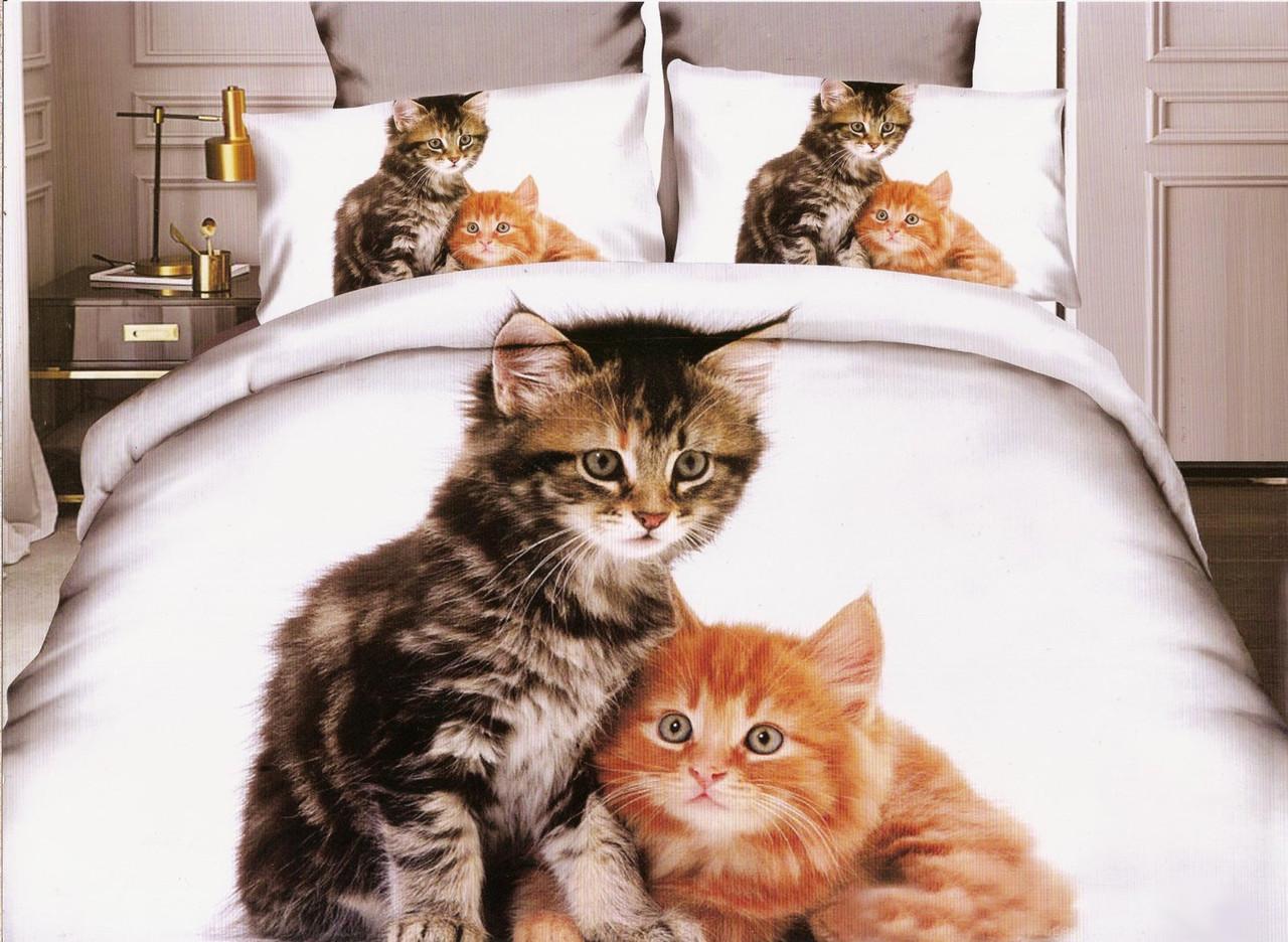 3D Постельное белье Milano Zone  рисунок кошки друзья полуторка