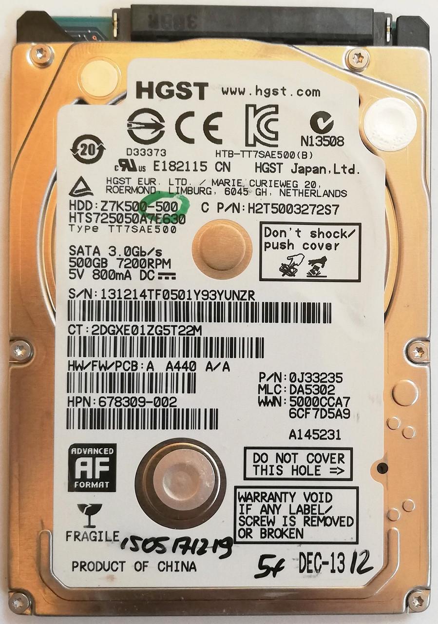 """Жесткий диск для ноутбука HGST Hitachi Travelstar 500GB 2.5"""" 16MB 7200rpm 3Gb/s (HTS725050A7E630) SATAII Б/У"""