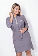 Женское Стильное Платье с поясом БАТАЛ, фото 1