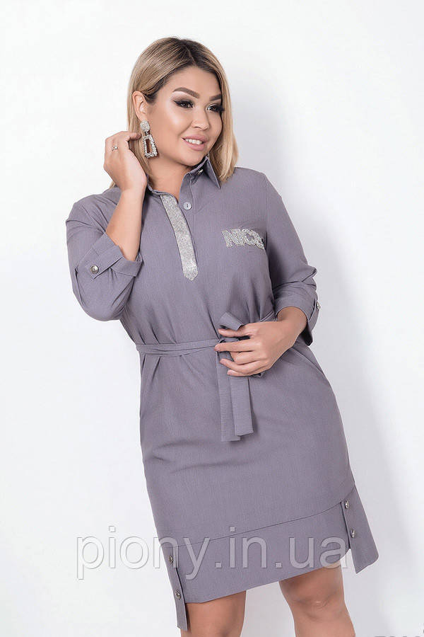 Женское Стильное Платье с поясом БАТАЛ