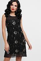Коктейльное черное мини платье с пайетками и сеткой, фото 1