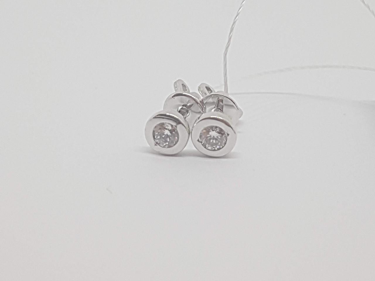 Золоті сережки-пуссети з фіанітами. Артикул СП131БИ