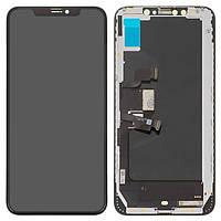 Дисплей для iPhone XS Max, модуль в сборе (экран и сенсор), с рамкой, черный, OLED (Self-welded OEM)