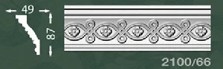 Плинтус потолочный с орнаментом из пенопласта Baraka Dekor 2100/66