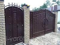 Распашные металлические ворота с рельефным декором (эффект жатки) 3100, 2300, фото 3