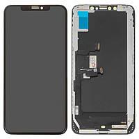 Дисплей для iPhone XS Max, модуль в сборе (экран и сенсор), с рамкой, черный, OLED, HC (Self-welded OEM)