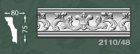 Плинтус потолочный с орнаментом из пенопласта Baraka Dekor 2110/48