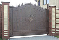 Сдвижные металлические ворота с рельефным декором (эффект жатки) 3500*2400, фото 2