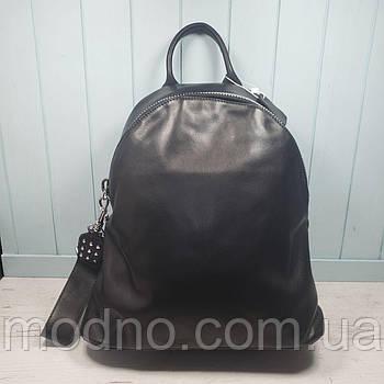 Жіночий стильний повсякденний шкіряний рюкзак чорний