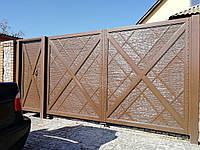 Автоматические распашные металлические ворота с рельефным декором ш3500, в2000 и калитка ш1000, в2000