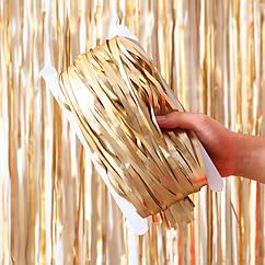 Шторка-завіса з фольги для фото зон золото сатин 300 х 100 см