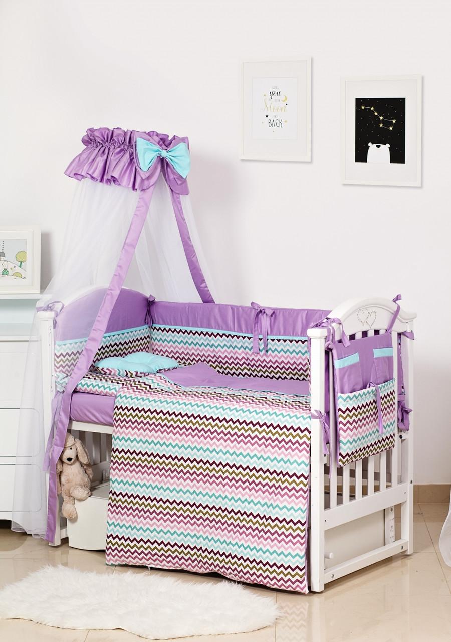Детское постельное белье Twins Premium Modern II P-116 Зигзаг фиолетовый 8 эл