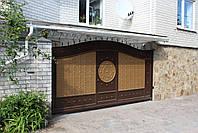 Автоматические сдвижные металлические ворота с врезной калиткой (эффект жатки) ш4000, в2500, фото 3