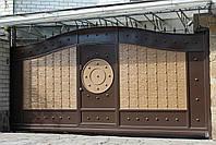 Автоматические сдвижные металлические ворота с врезной калиткой (эффект жатки) ш4000, в2500, фото 2