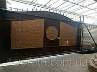 Автоматические сдвижные металлические ворота с врезной калиткой (эффект жатки) ш4000, в2500, фото 4