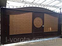 Автоматические сдвижные металлические ворота с врезной калиткой (эффект жатки) ш4000, в2500, фото 5