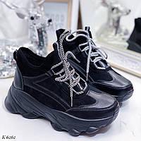 Женские кроссовки черные эко-замша + эко-кожа