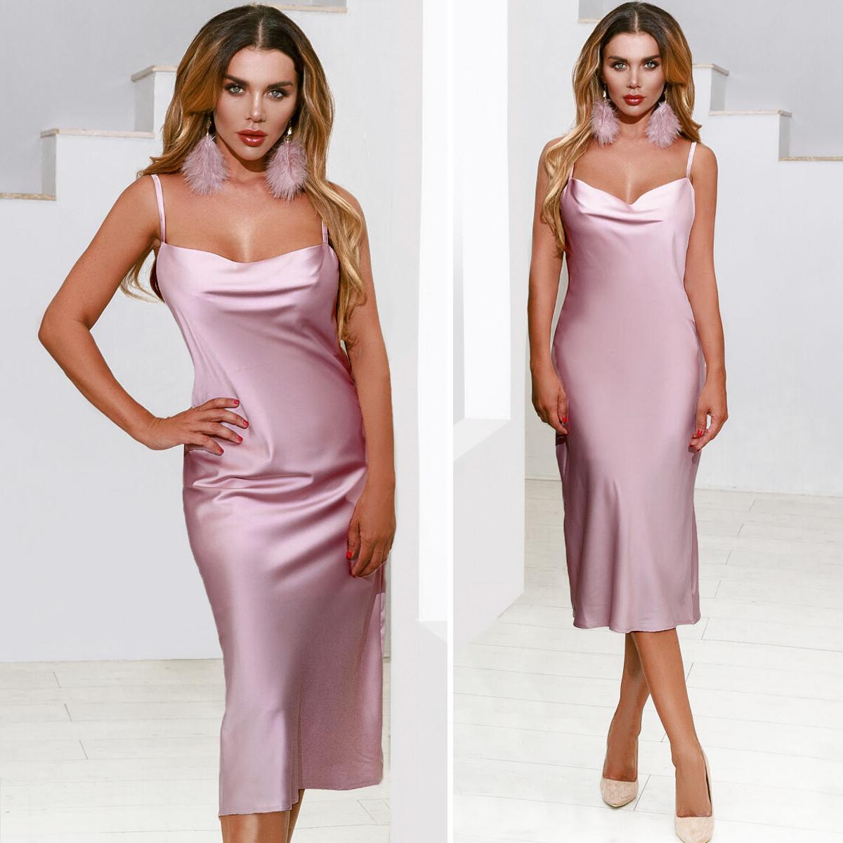 Розовое платье в бельевом стиле (Код MF-200)