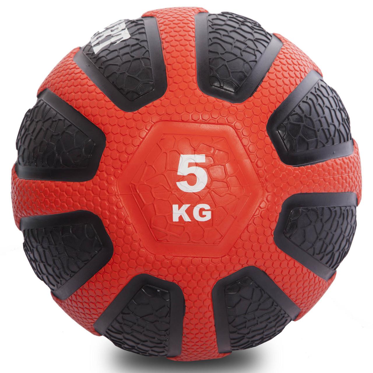 Мяч медицинский медбол Zelart Medicine Ball FI-0898-5 5кг (резина, d-23см,черный-красный)