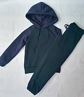 Спортивный детский тёплый костюм на флисе для девочек6-10лет, темно синий с темно зелёным
