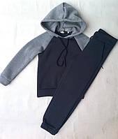 Спортивный детский тёплый костюм на флисе для девочек6-10лет, темно синий с серым