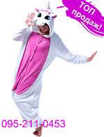 Пижама кигуруми женская и мужская Единорог Розовый, S (рост 150 - 160 см)