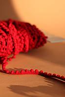 Помпони на стрічці для одягу червоні 5мм
