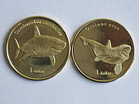 Моорея 1 доллар 2019 АКУЛА + КАСАТКА 2 монеты