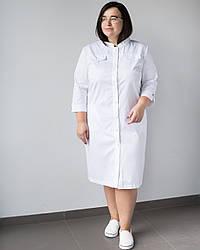 Медицинский женский халат Валери белый +SIZE