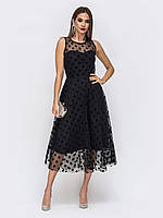 Вечернее платье миди с расклешенной юбкой крупный горох бежевый, черный