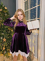 Нарядное велюровое платье с кружевом вечернее платье