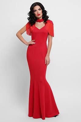 Красное вечернее платье в пол с бахромой на плечах