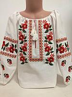 Детская белая блузка для девочки с разноцветной вышивкой Цветочная гладь Piccolo L