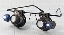 9892A-II лупа-очки бинокулярны с LED подсветкой, 20Х, увеличение, линза стекло