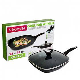 Сковорода-гриль Kamille 28 см с алюминия с антипригарным покрытием Черный мрамор с крышкой для индукции