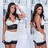Женская пижама топ и шортики с отделкой кружева 42-44,46-48, фото 3