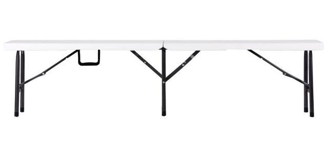 Лавочка складная Орека 180х25х43 пластик белый (Фото 3)
