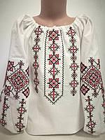 Детская белая блузка для девочки с красной вышивкой Солоха Piccolo L