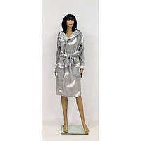 Теплый махровый халат серого цвета с капюшоном для беременных Перья 44-50 р, фото 1