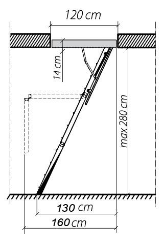 чердачная лестница чертеж