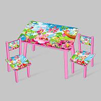 Столик Мини Феи 60х46 см и 2 стула, ножки белые - 181715