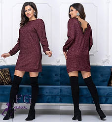 Теплое платье туника с глубоким вырезом на спине
