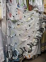 Тюль чорно-біла фатинова з вишивкою /Гардина чорно-белая фатиновая с вышивкой, фото 1